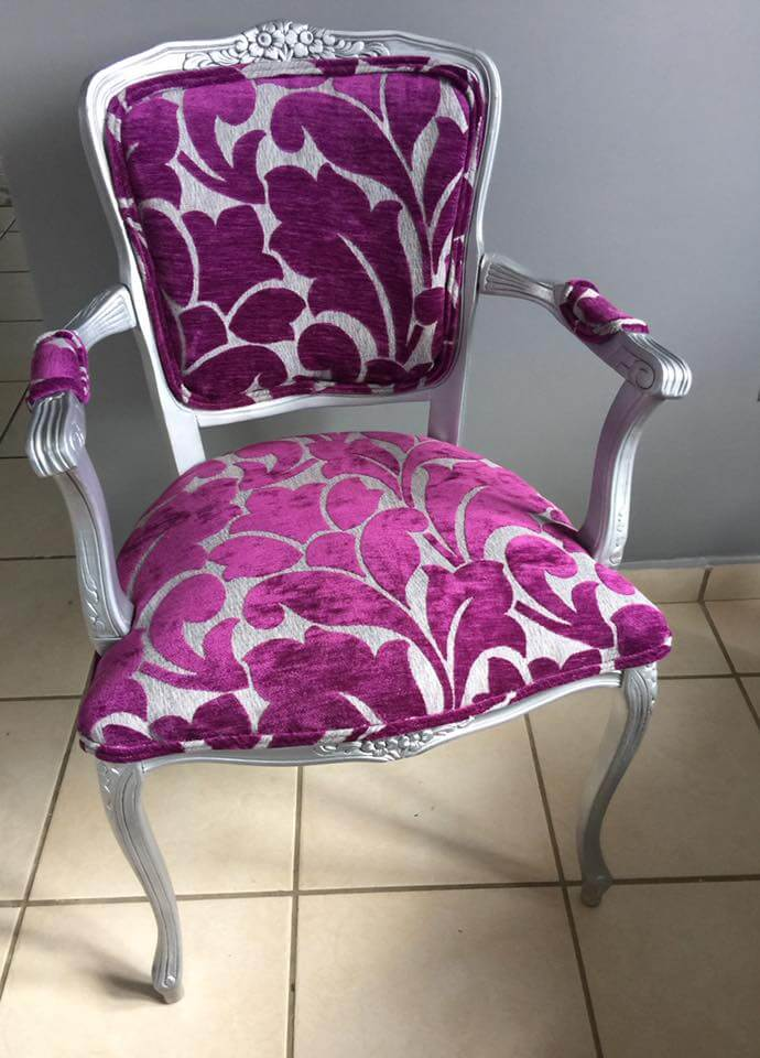 victorian arm chair redo with silver paint and purple print fabric