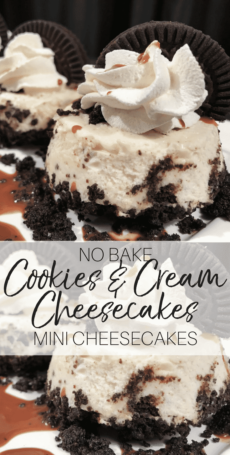 Pinterest graphic showing miniature cookies and cream cheesecakes