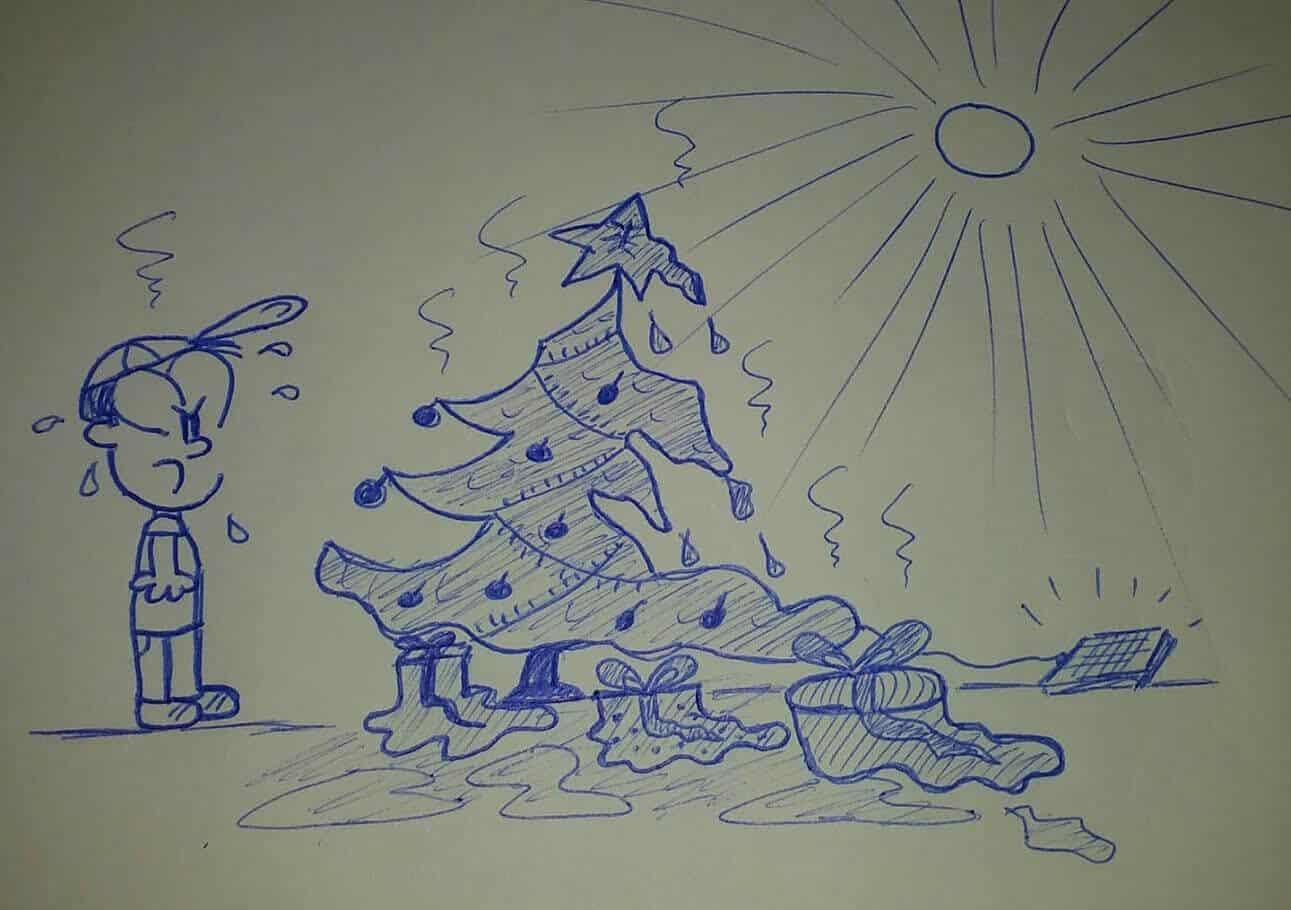 caricatura frente a un árbol de navidad bajo el sol