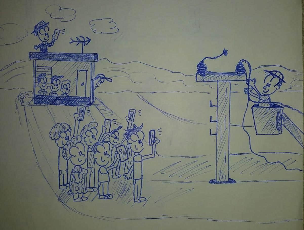 ilustración de trabajadores reparando líneas eléctricas
