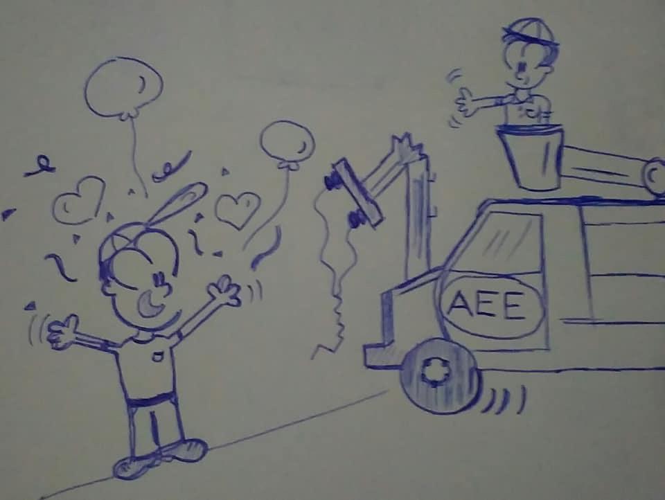 caricatura alegre celebrando ver un camión de energía eléctrica