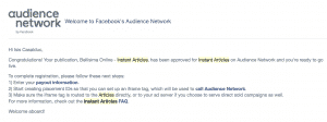 screenshot of Audience Network approval