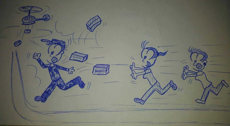 caricaturas corriendo detrás de cajas lanzadas por un helicóptero