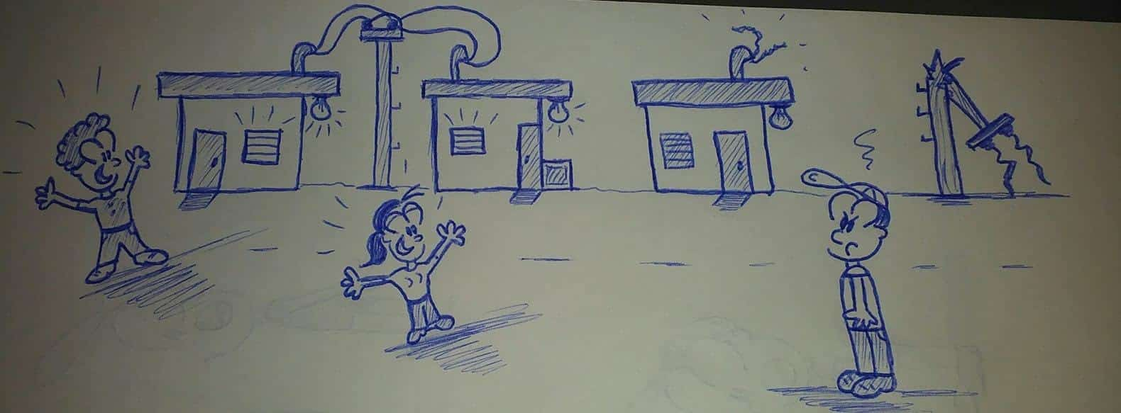caricaturas frente a casas
