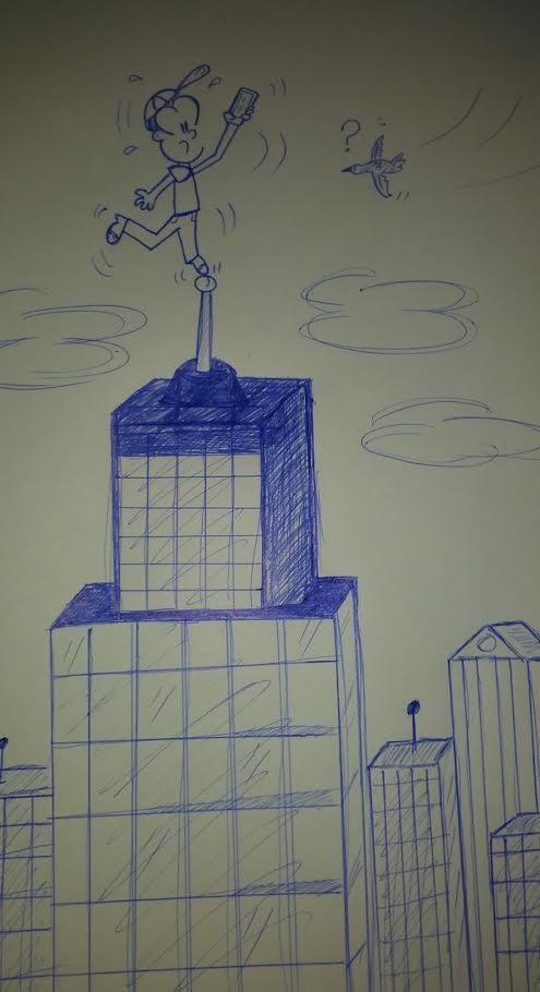 caricatura en el techo de un edificio buscando señal
