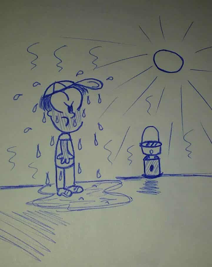 caricatura con una lamparita solar