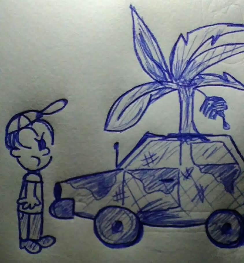 caricatura frete a un carro sucio con plantas creciendo del mismo