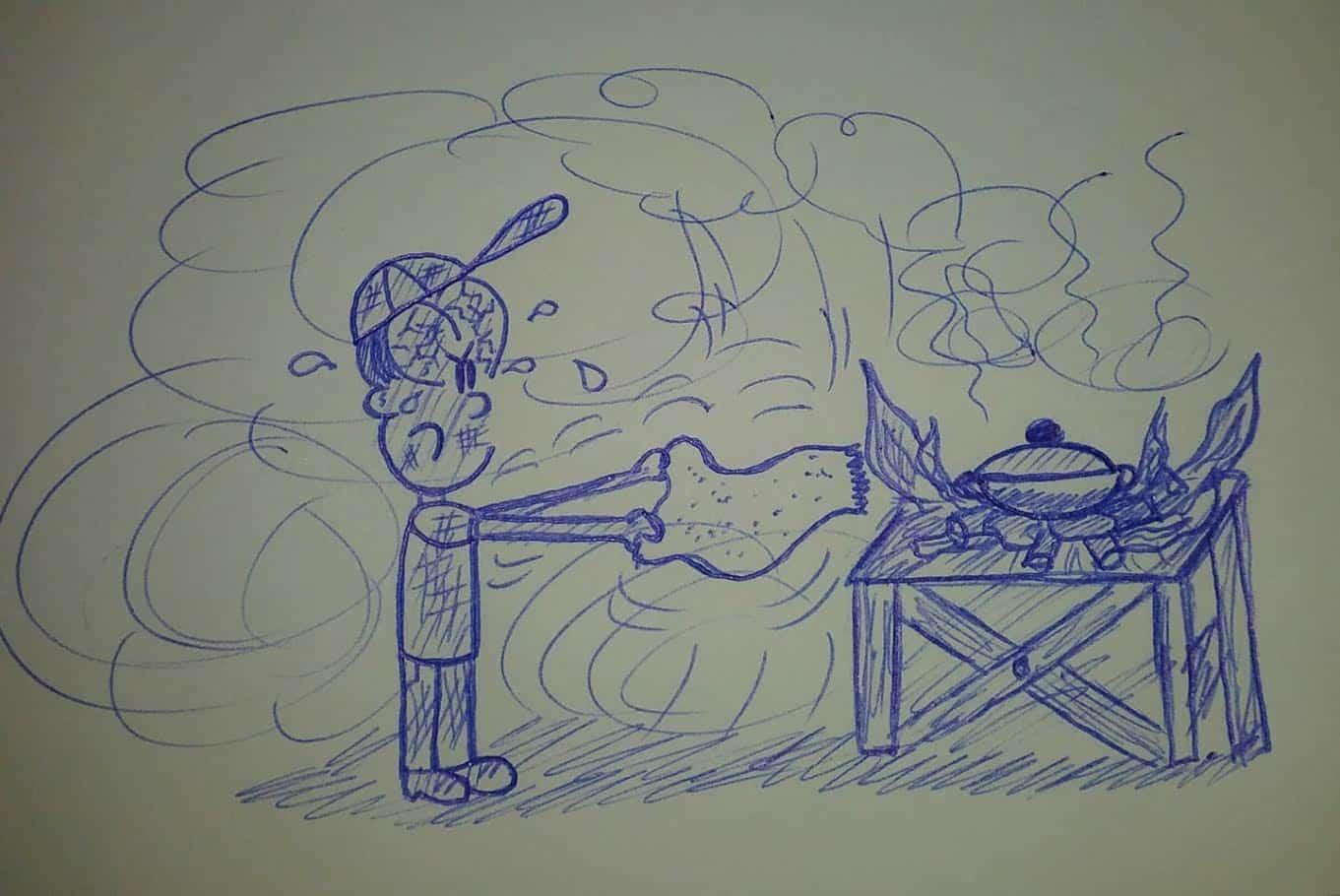 caricatura cocinando con leña