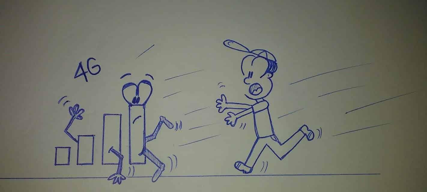 caricatura corriendo tras las barras de señal