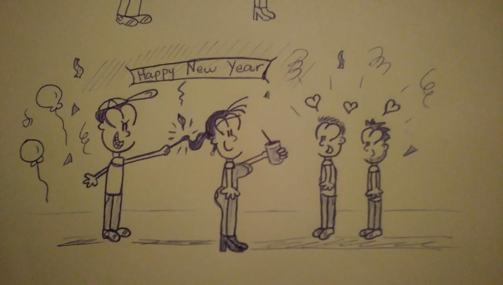 4 Muñequitos celebrando la despedida de año