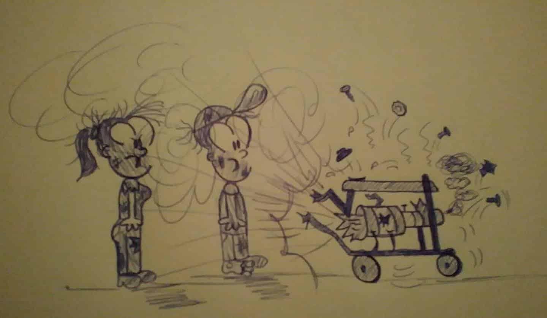 dos muñequitos parados frente a un generador eléctrico