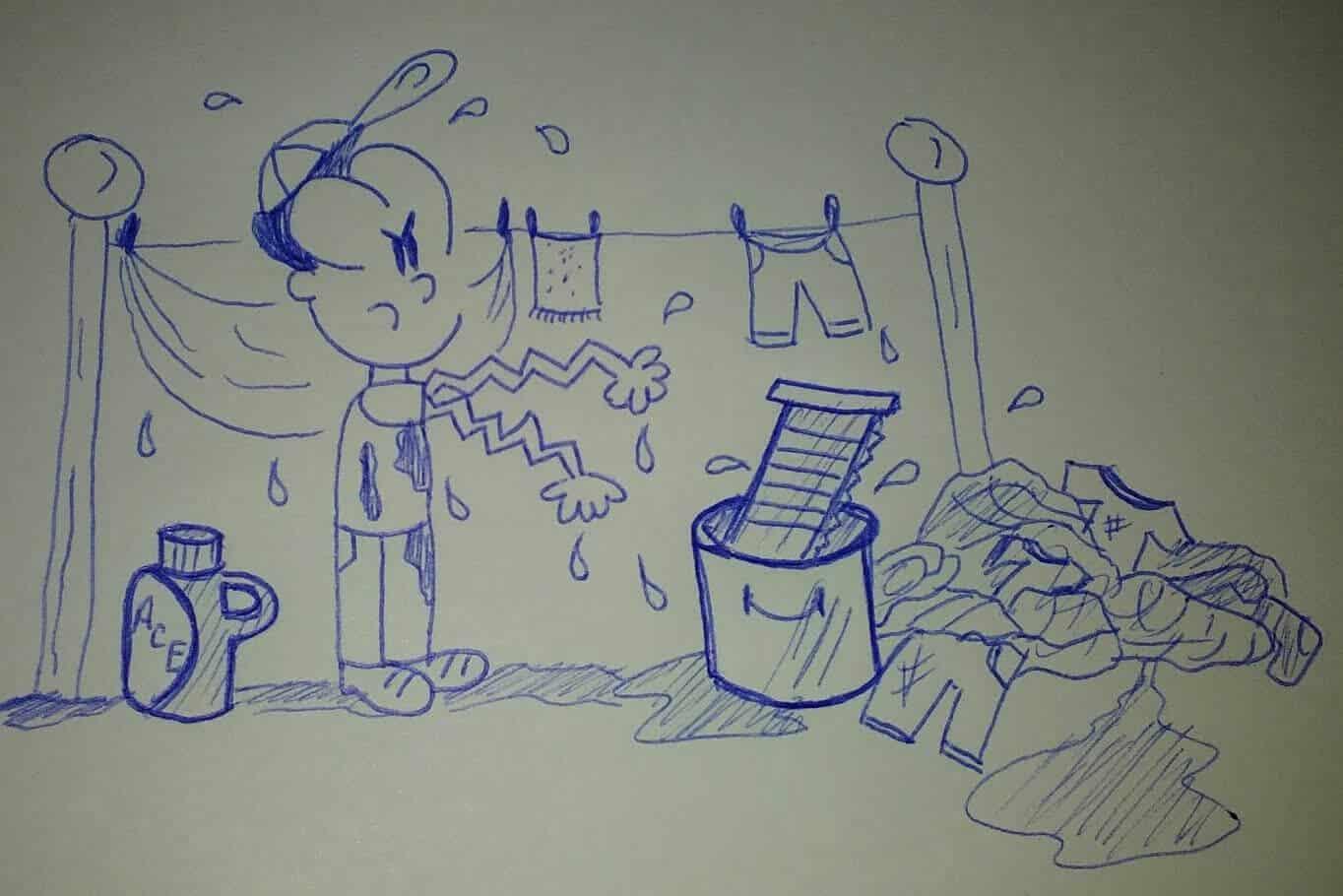 caricatura lavando y tendiendo ropa a mano