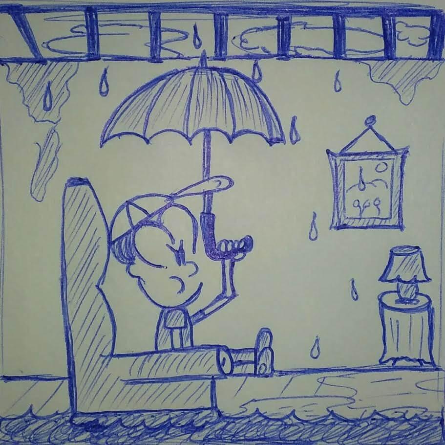 caricatura dentro de una casa mojándose con la lluvia