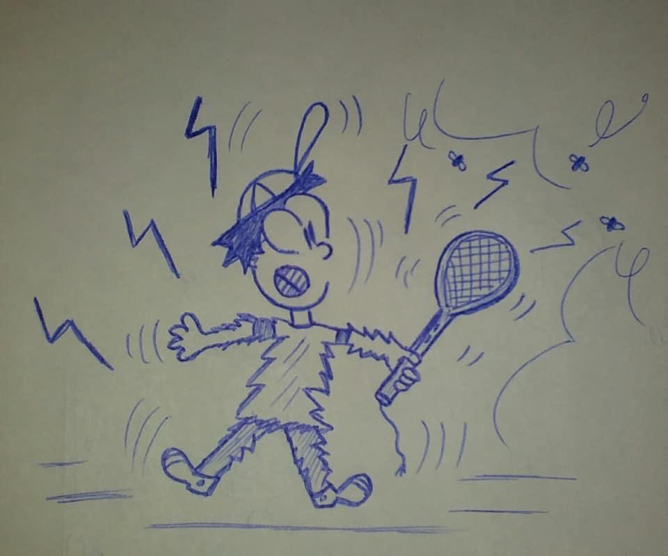 caricatura electrocutándose