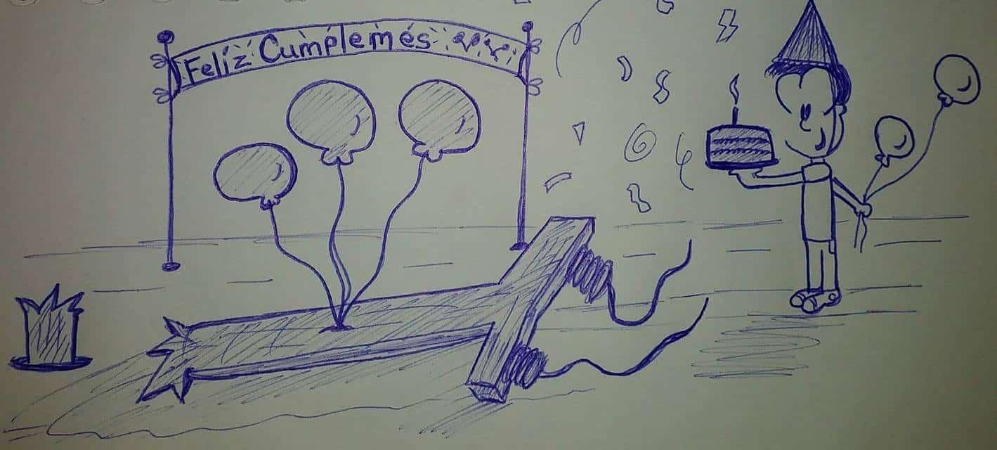 caricatura con un bizcocho frente a un poste de luz caído