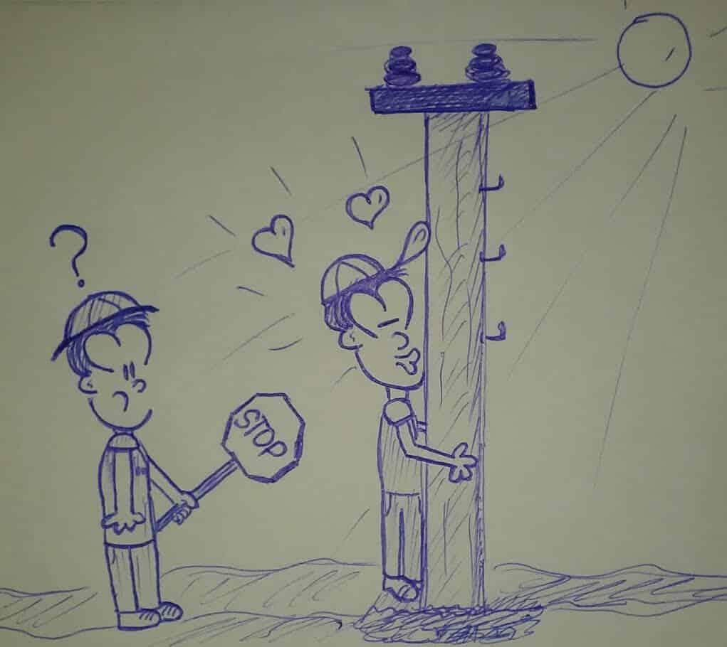 caricatura besando un poste eléctrico