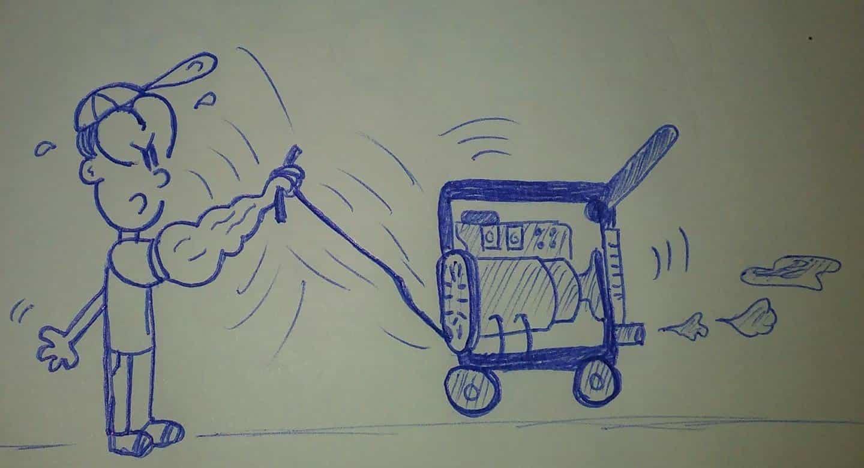 caricatura encendiendo un generador