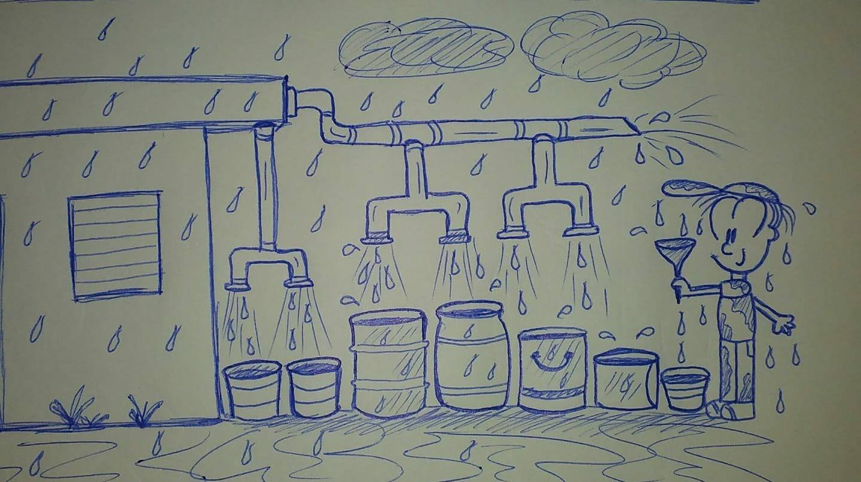 caricatura frente a improvisado sistema de recolección de agua