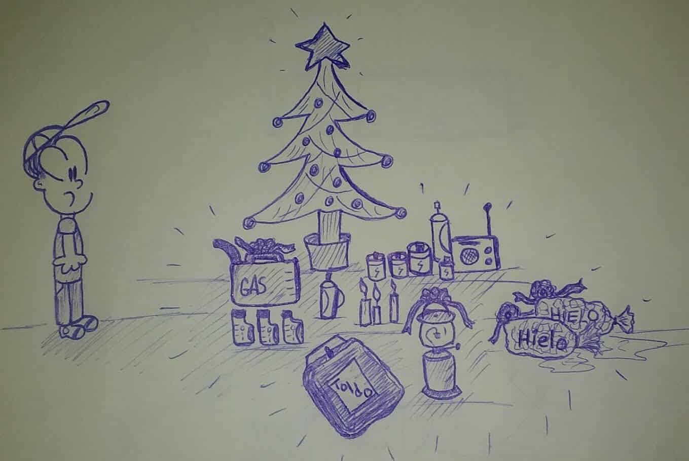 caricatura frente a un árbol de navidad y regalos