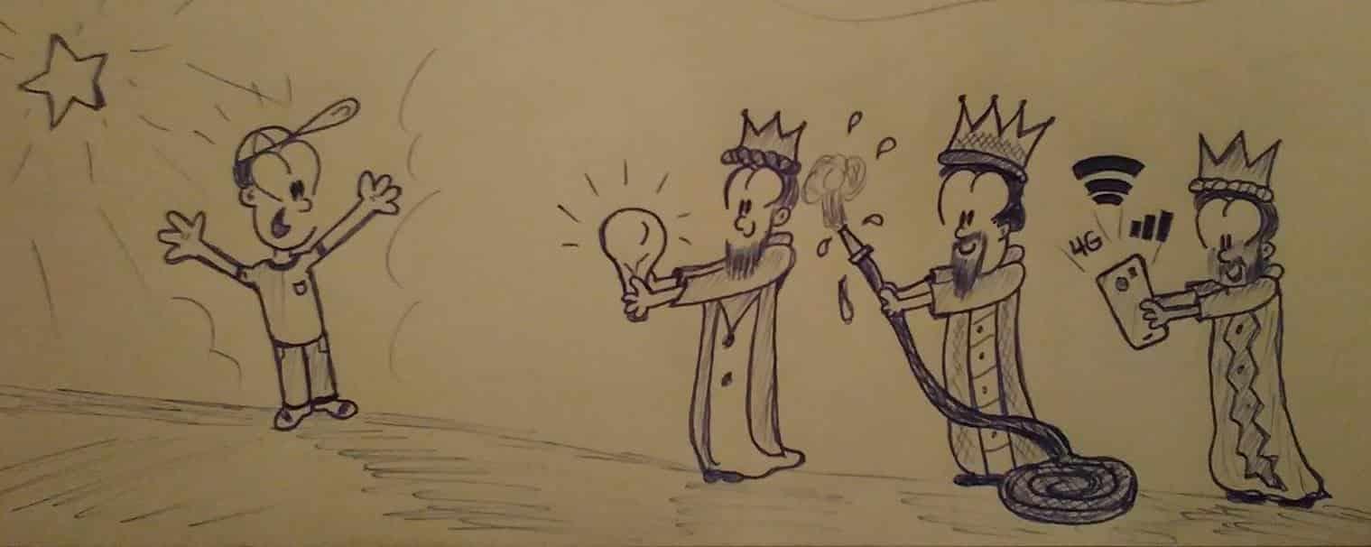 tres reyes magos con regalos