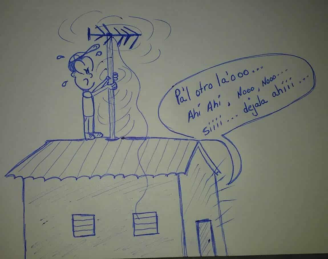 caricatura en el techo de una casa rotando una antena