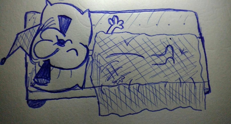 caricatura acostada tapándose los oídos