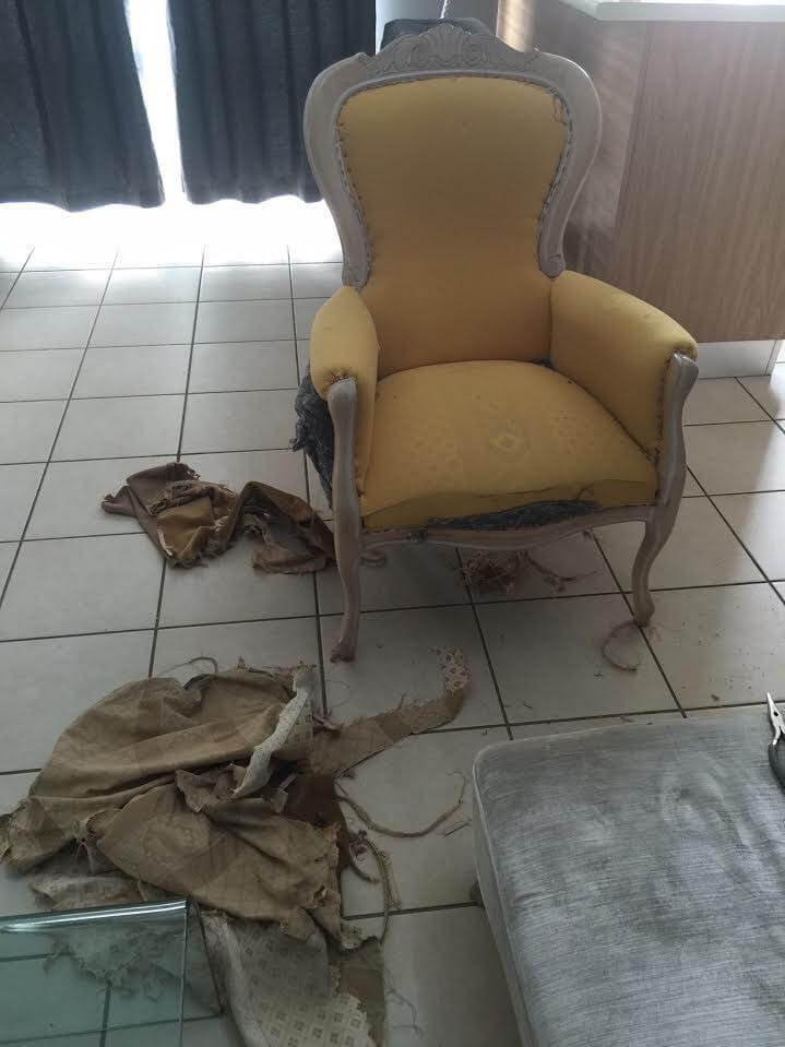 butaca victoriana con el foam expuesto y tela en el suelo
