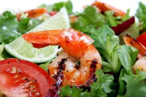 shrimp over lettuce