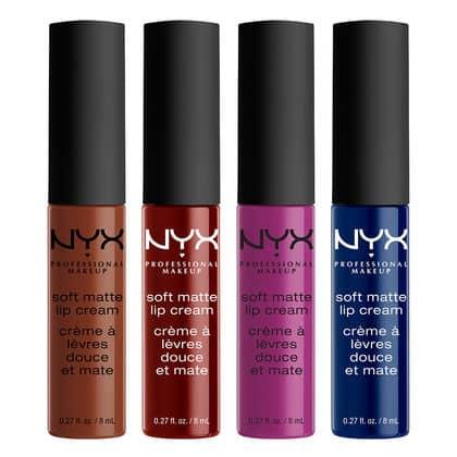 cuatro labiales matte de la marca NYX en diferentes colores