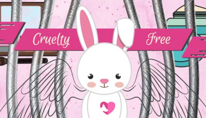arte grafico mostrando un conejito con alas para un articulo sobre maquillaje libre de crueldad