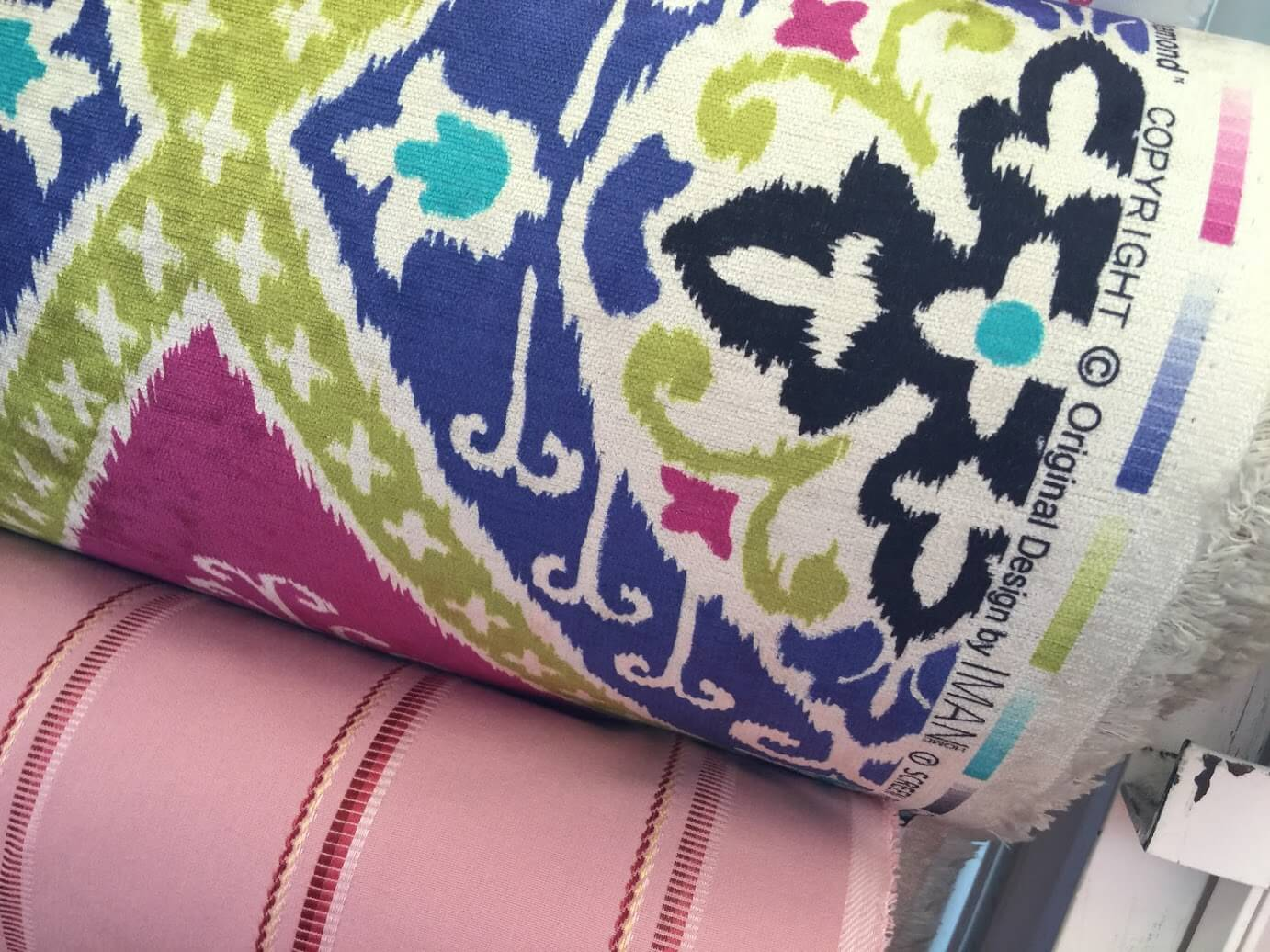 bright colored upholstery fabric