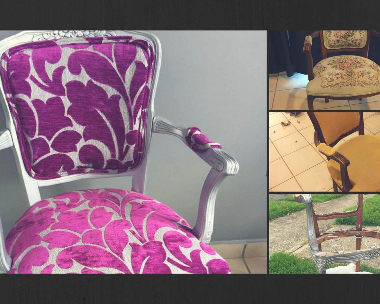 gráfica ilustrando una silla de madera y tapizado victoriano en sus etapas de retapizado