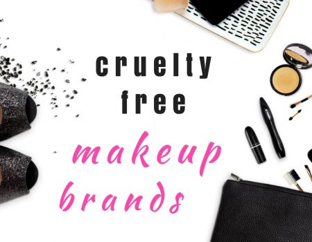 graphic showing feminine items such as high heels, sparkle and cosmetics with a pink and black text that reads cruelty free makeup brands