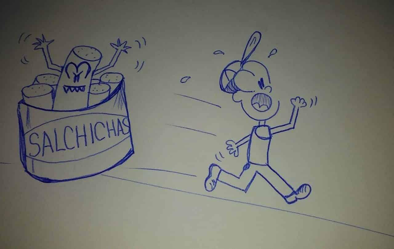 caricatura huyendo de una lata de salchichas