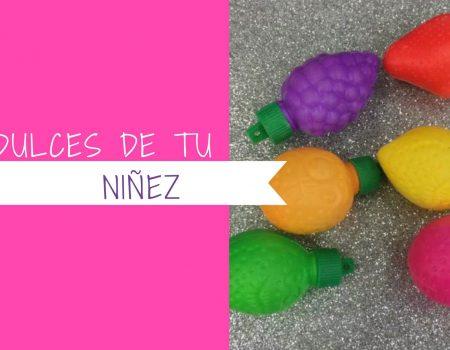 arte gráfico rosa intenso con imagen de dulces de tu niñez
