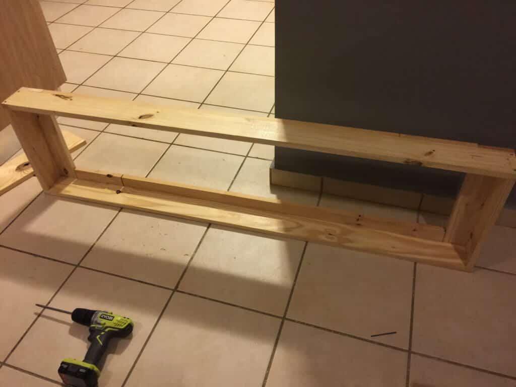 wood frame on the floor
