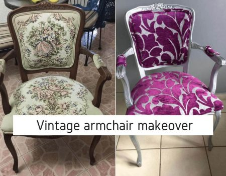 graphic with two chairs showing a before and after of how to reupholster vintage chair. In one of the images the chair is brown and has an old, flower printed fabric and in the other picture the chair is silver and has a purple and gray fabric.