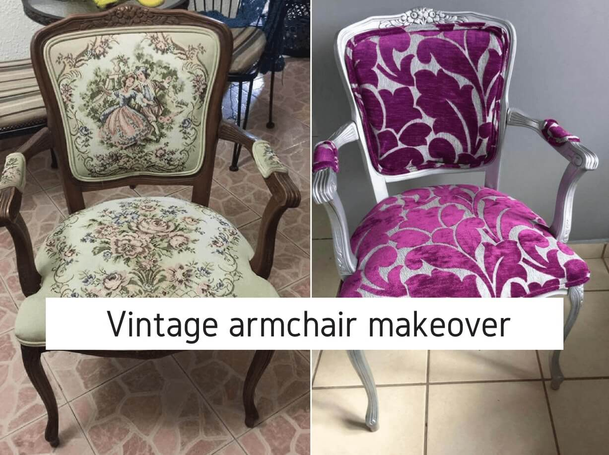 Graphic With Two Chairs Showing A Before And After Of How To Reupholster  Vintage Chair.