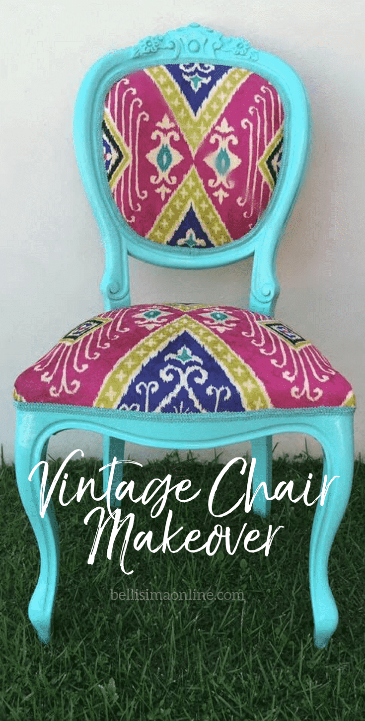 pinterest graphic showing a vintage chair makeover transformed into a blue, colorful chair