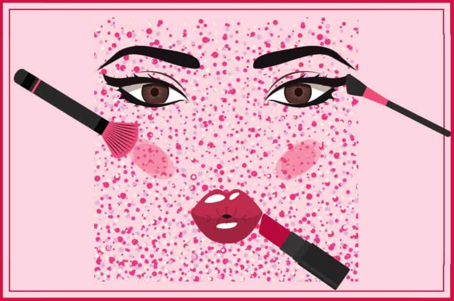 pink illustration of makeup application on a face for a fan del maquillaje article