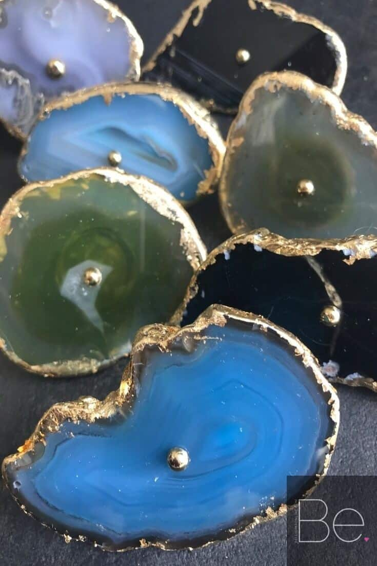 colorful DIY agate drawer pulls
