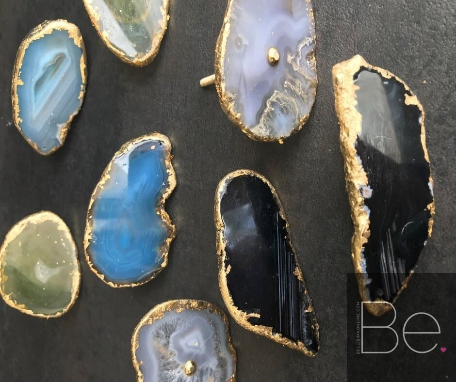 eight diy agate drawer pulls in different colors