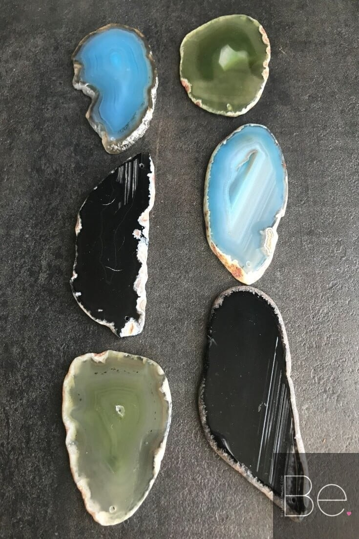 six agate slices in green, black and blue