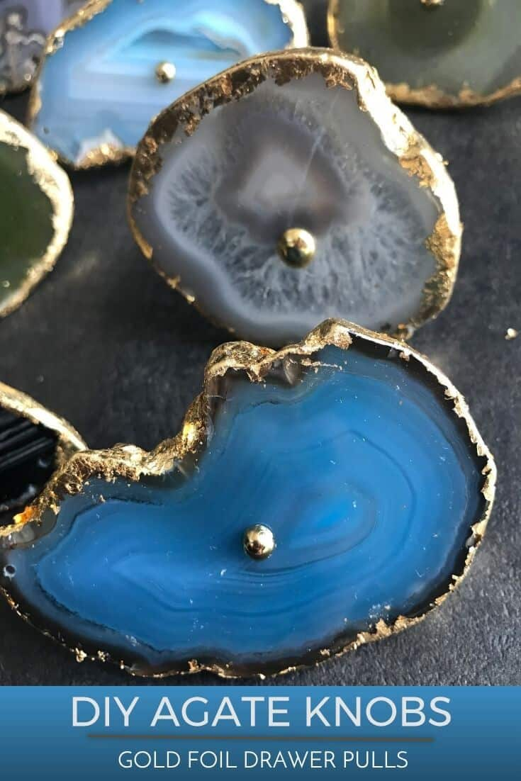 Pinterest Graphic showing DIY Agate drawer pulls