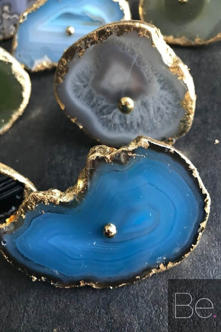 gorgeous blue DIY agate drawer pulls