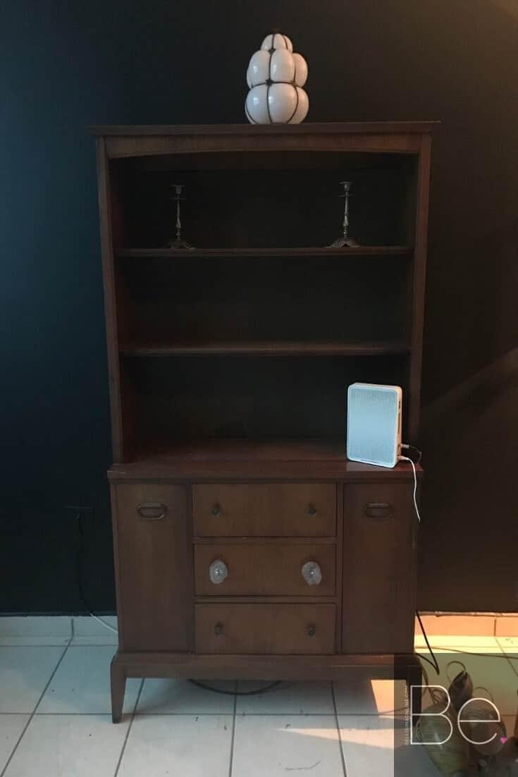 vintage wood China cabinet