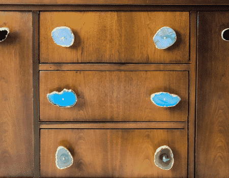 8 diy agate drawer pulls in black, blue, green and light purple