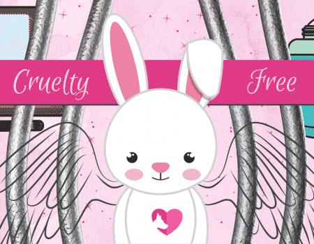 gráfica rosada con un conejito tras las rejas para ilustrar marcas de maquillaje que no hacen pruebas en animales