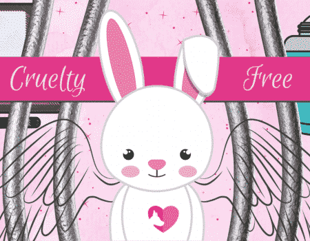 pink graphic showing a cute white bunny that has angel wings looking super sad. The bunny is behind bars.  The illustration shows makeup products by the bunny and is part of the illustrations for an article about makeup brands that don't test on animals.